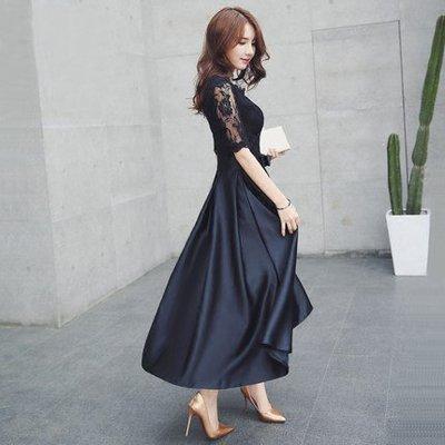【曼妮婚紗禮服】3件免郵~結婚 婚宴禮服 聚會 宴會  韓版蕾絲修身顯瘦中長款禮服 CF207