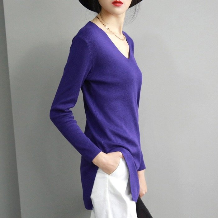 《現貨》酒紅/紫/黑 V領氣質針織衫 中長款寬鬆長袖毛衣 Baoniz 寶妮子