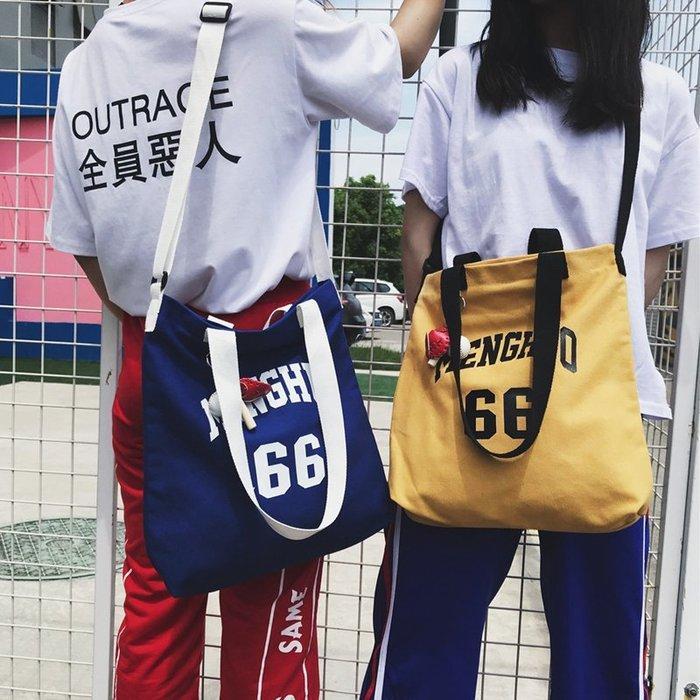 ins街拍書包女學生 韓版ulzzang 港風帆布包大容量百搭女士斜挎包 時尚背包