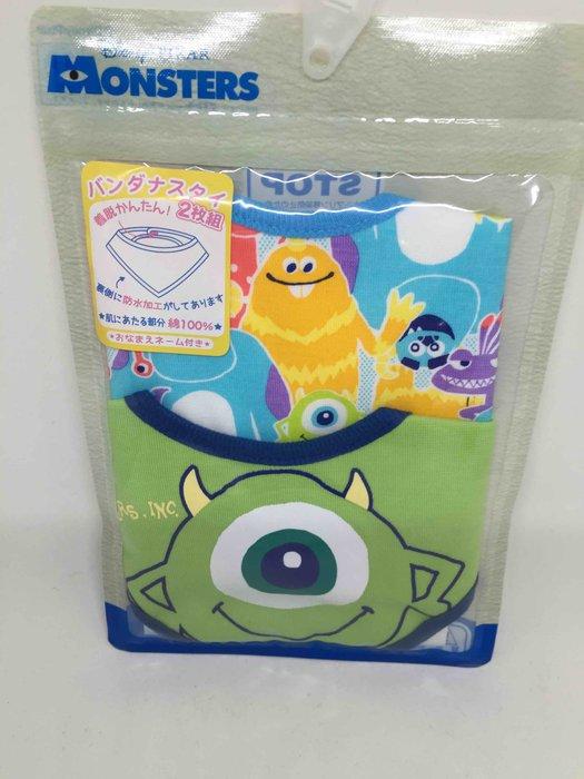 日本 迪士尼 大眼仔 圍兜兜 三角巾 內裡防水層 二件一組