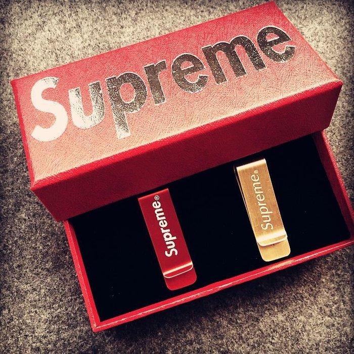 Supreme純銅錢夾潮牌錢夾 鈔票夾 卡片夾 零錢個性夾錢夾創意生日禮物銅錢夾 一套2只