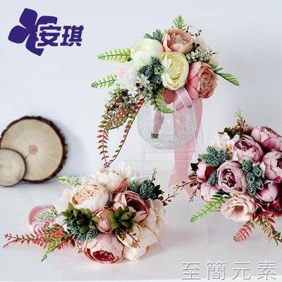 歐式復古婚禮新娘手捧花仿真絹花多肉混搭花束  WD
