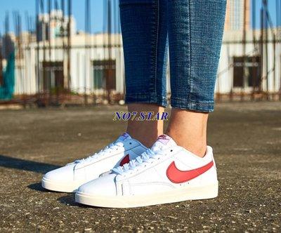 NIKE  BLAZER LOW PRM 全白 白色 紅勾 阿甘 皮革 奶油底 休閒滑板 男女鞋 454471-105