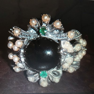 綠寶石珍珠銀戒指
