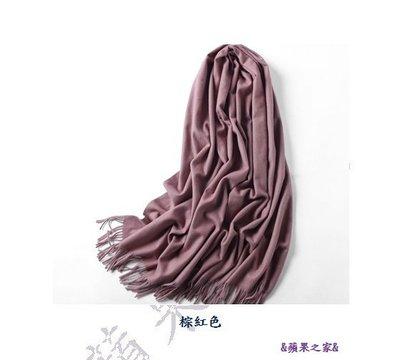 &蘋果之家&現貨-韓版冬季純色羊毛羊絨加厚保暖披肩/圍巾-棕紅色