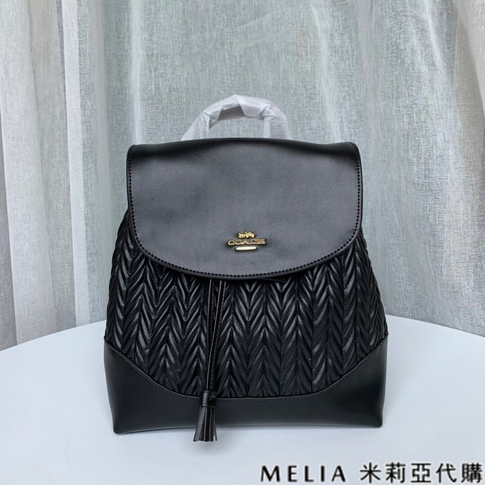 Melia 米莉亞代購 COACH 2019ss 72842 女士款 雙肩包 後背包 皺褶抽繩款 中號 黑色