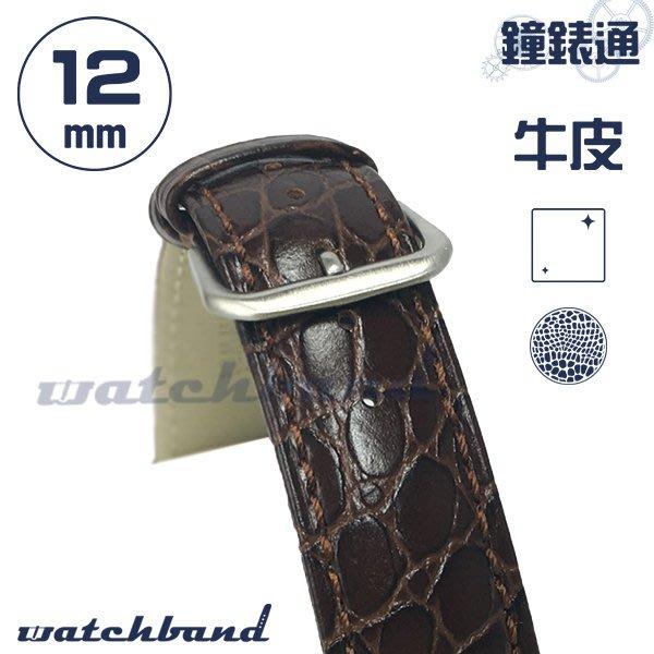 【鐘錶通】C1-20BR《簡約系列》鱷魚小花紋-12mm 經典棕   /手錶錶帶/鱷魚小花紋/牛皮錶帶/