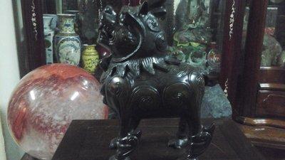 大件麒麟銅雕香爐 高31公分寬23公分...