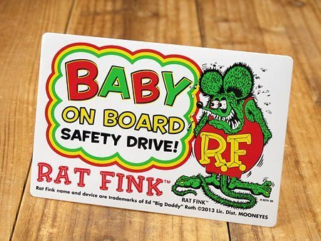 (I LOVE樂多)原版RAT FINK RF車上有嬰兒小孩請保持距離安全駕駛(警視貼紙)