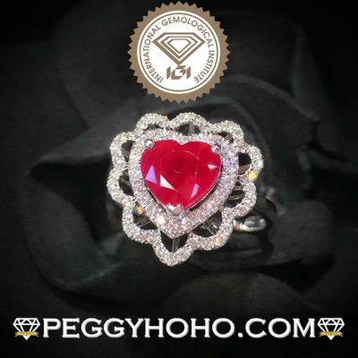 【Peggyhoho】全新18K白金2卡心形紅寶石配41份真鑽石戒指 | IGI證書 RUBY 超值緬甸紅寶石 | HK13