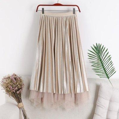 高腰金絲絨網紗百褶半身裙兩面穿百搭中長款裙子
