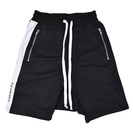 { POISON } SKATOPIA SIDE STRIPE SHORT PANTS 微彈性布料飛鼠褲型側邊條五分褲