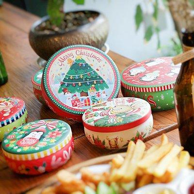 圓形卡通聖誕節禮品盒包裝盒禮物罐馬口鐵盒收納花茶罐婚禮盒子