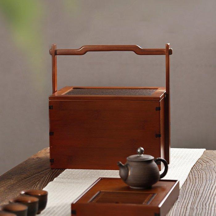 貓先生  竹制食盒 中式仿古  竹編茶 具收納盒 提籃 古 代實木旅 行便攜茶 箱提盒