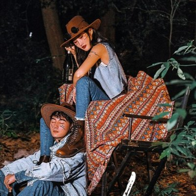 新款旅拍婚紗攝影道具西部牛仔帽子外景云南樣片戶外拍照民族毯子