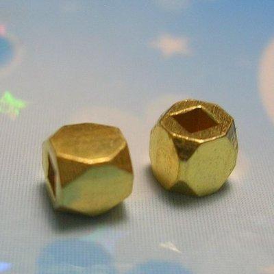 琥珀貓~【925純銀鍍K金材料配件】鍍24K金~方角珠~N8681款~2mm~一組4個