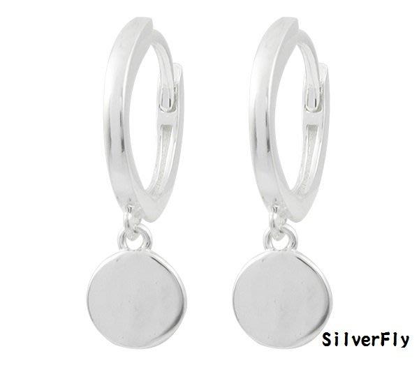 純銀易扣耳環圓緣《 SilverFly銀火蟲銀飾 》