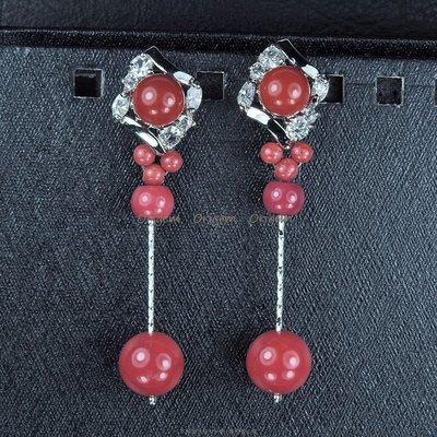 珍珠林~特別設計款~阿卡珊瑚針式垂吊耳環 #487