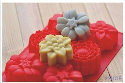 【法法雜貨】L33 六連3款花朵模具 冰塊模 巧克力模 餅乾模 手工皂模 肥皂模 蛋糕模 果凍模 蠟燭模 黏土模