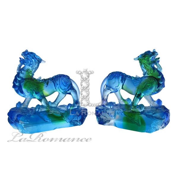 【芮洛蔓 La Romance】富貴琉璃 - 藍綠小貔貅 (一對)  / 招財 / 納財 / 旺財