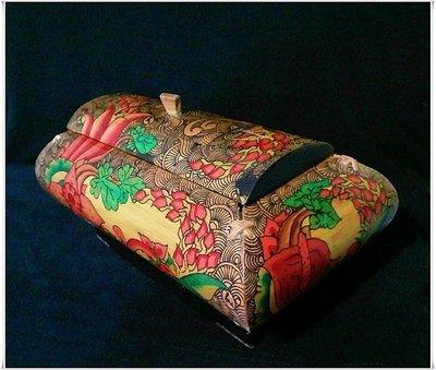 (特價商品)【牟根古董-151014】古早日本 竹雕工藝 收納盒