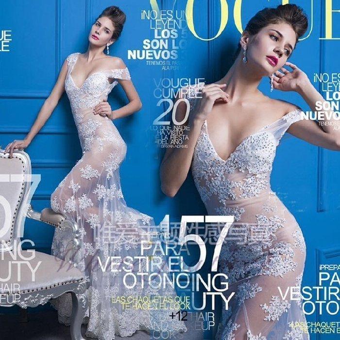 【優上精品】婚紗影樓高端歐美大牌蕾絲透視魚尾收腰禮服主題寫真拍攝服飾(Z-P3138)