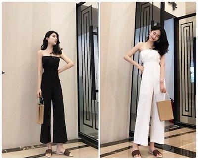 韓國時尚簡約性感露肩顯瘦連身褲 / 黑  白 綠