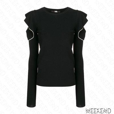 【WEEKEND】 KARL LAGERFELD Logo Ruffle 卡爾 荷葉袖 露肩 長袖 上衣 黑色 19春夏