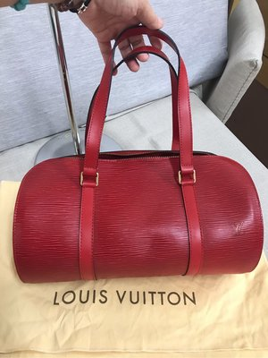 ❤️ LV  M5222E 紅色Epi 少用如新 經典 水波紋 真皮 手提 圓桶手提包 圓筒包 滾筒包 子母包(沒有附小包)真品正品