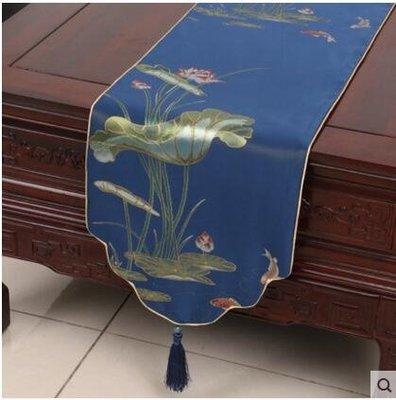 古典桌旗蓋布荷花茶几布藝中式美式歐式現代圓形餐桌布中式茶具