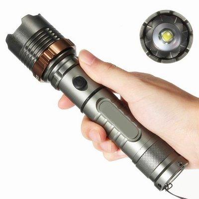 戶外強光 T6手電筒 LED 變焦調焦 工作燈 18650 五段 強光 旋轉變焦手電筒 打獵 探洞 露營 徒步 探照燈