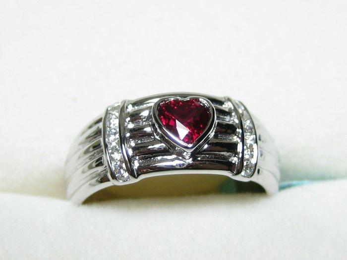 【Texture & Nobleness 低調與奢華】緬甸紅寶石鑽戒 100%天然寶石 市面罕見 稀有釋藏