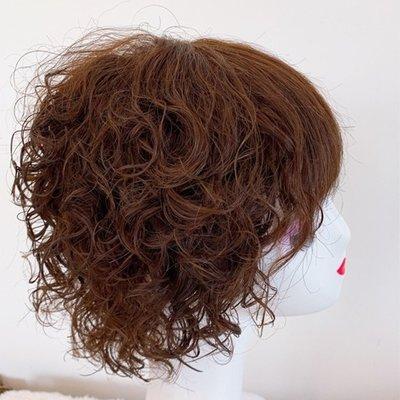 整頂假髮真髮絲短假髮-全手織空氣瀏海捲髮女假髮2色73vr8[獨家進口][米蘭精品]
