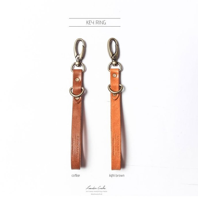 點子包 iclea X bag │經典手工皮革鑰匙圈 棕色/咖啡色 DG19