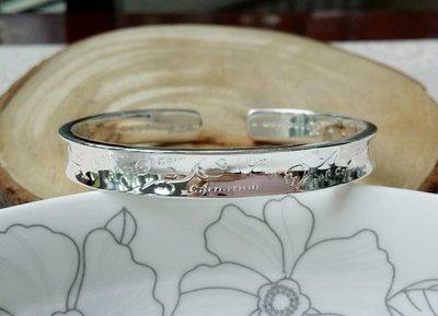 嗨,寶貝銀飾珠寶* 925純銀☆999足銀 時尚精品 簡約 內凹純銀開口手環 手鐲