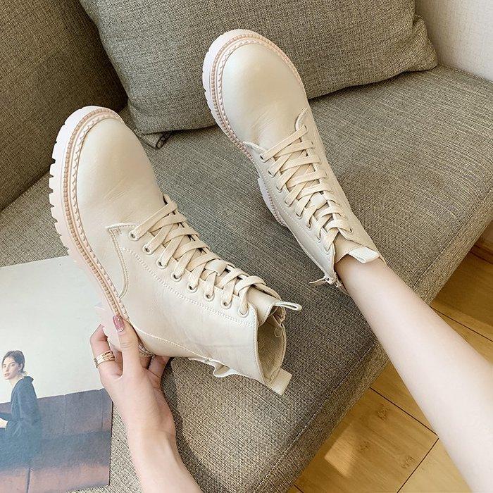 冬季保暖女靴 馬丁鞋 長靴機車靴 韓版百搭ins帥氣馬丁靴女單靴韓版百搭平跟短靴女秋冬女靴子