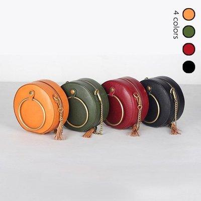 單肩包 真皮 手提包-植鞣牛皮純色小圓包女包包4色73xo24[獨家進口][米蘭精品]