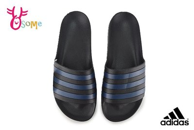 adidas 拖鞋 成人男女款 大童 全防水 經典三線設計 情侶鞋 運動拖鞋 R9324#黑藍 OSOME奧森鞋業