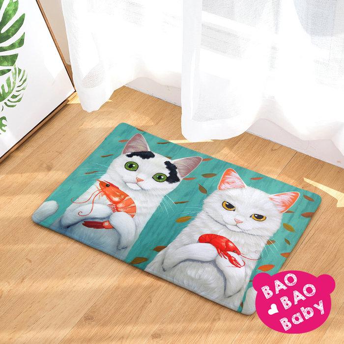 【寶貝日雜包】貓咪夫妻的鮮蝦大餐法蘭絨毛踏墊 貓咪地墊  地毯 防滑地墊 臥室地毯 防滑墊 浴室吸水踏墊 腳踏墊