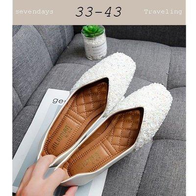 大尺碼女鞋小尺碼女鞋方頭小亮片小鑽V口...