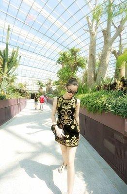 [ ohya梨花 ] =韓國帶回=最新春裝新款氣質名媛甜美穿搭奢華立體盤花金線刺繡圖騰背心無袖小洋裝連身裙