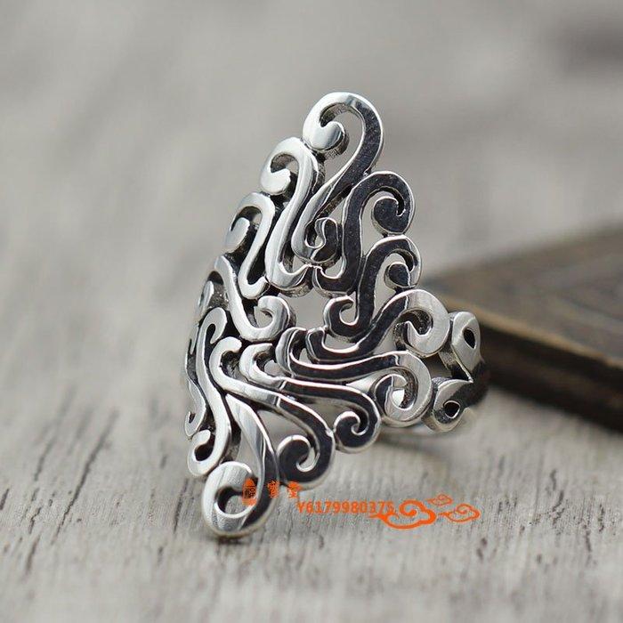 【福寶堂】S925純銀飾品鏤空誇張寬面戒指女士款泰銀復古做舊款民族風指環