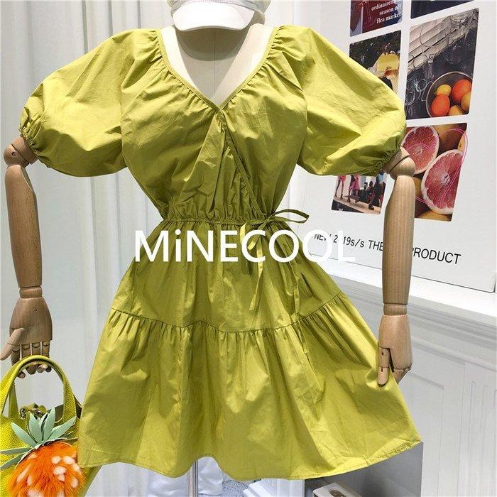 MiNE SHOP韓國 M9621-6實拍 復古V領寬鬆連衣裙 兩色 均碼