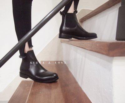 Alexa&Love_英倫經典復古牛皮雀兒喜靴低跟Chelsea Boots 素面短靴(現貨特)