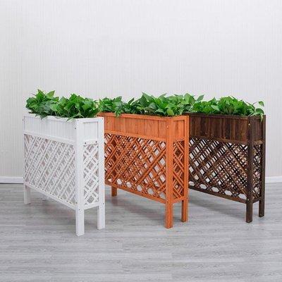 隔斷花架餐廳圍欄戶外陽台花箱室內實木碳化防腐網格柵欄隔離花槽 NMS