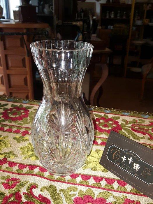 【卡卡頌 歐洲跳蚤市場/歐洲古董】法國老件_優雅水晶玻璃雕刻瓶 花瓶 透明 老水晶雕刻瓶 g0421