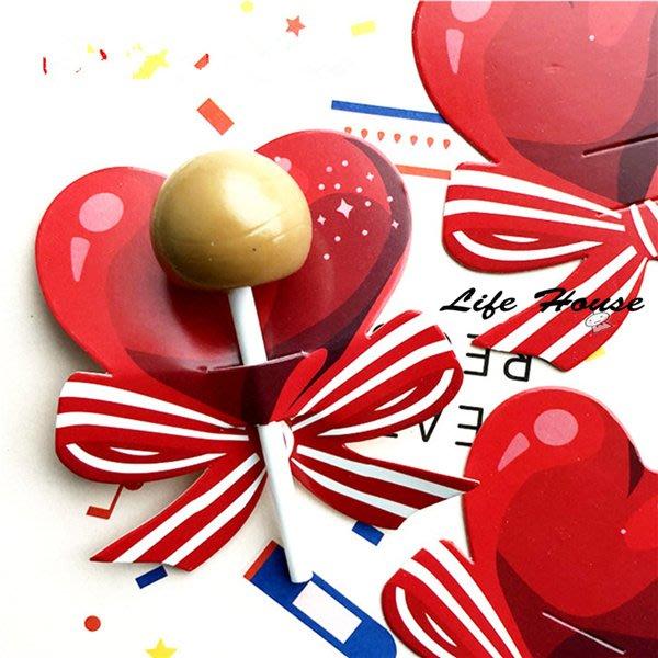 愛心蝴蝶結棒棒糖卡片 10入 糖霜餅乾卡片 棒糖裝飾紙卡  糖果包裝紙卡 婚禮小物進場糖果卡片  派對甜點裝飾 生日派對