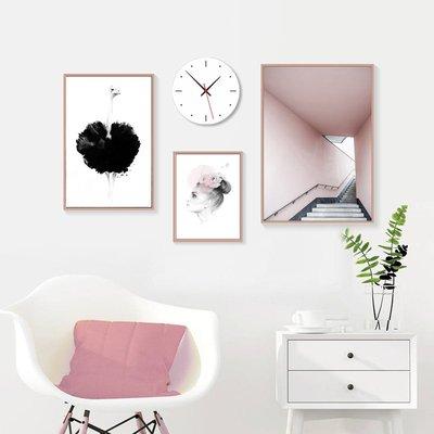北歐現代小清新人物樓梯大鳥客廳臥室裝飾畫畫芯高清微噴打印畫心(不含框)
