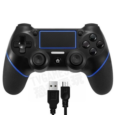 SONY PS4 副廠無線控制器 控制器 震動手把 黑藍 附USB充電線 台灣公司貨【台中恐龍電玩】