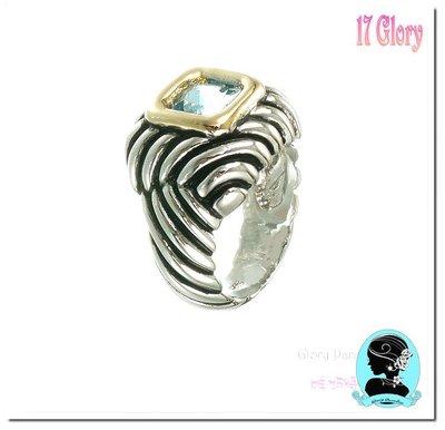 時尚戒指 個性率氣品味紐約時尚線條方型Tiffany藍色晶鑽~歐美簡約設計款~ #現貨 ✽ 17 Glory ✽